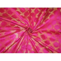 "Brocade fabric pink x metallic Gold Color BRO596[2] 44"" wide sold by the yard"