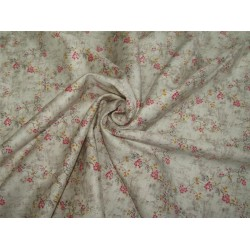 "100% COTTON SATIN 58""CREAM & PINK Color print USING DISCHARGE PRINTING METHOD"