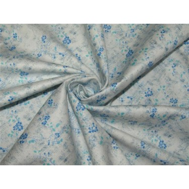 "100% COTTON SATIN 58"" Ivory & blue print USING DISCHARGE PRINTING METHOD"