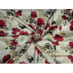 heavy polyester satin print red floral print 58""