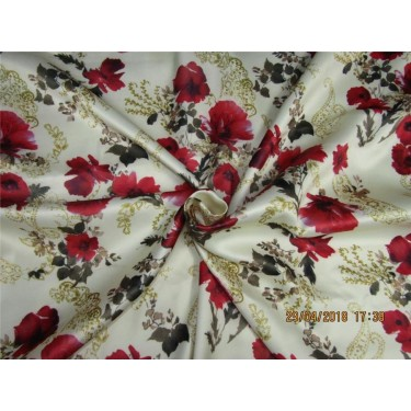 """heavy polyester satin print red floral print 58"""""""