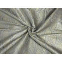 "Brocade fabric silver grey x gold color 44""wide bro609[3]"