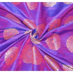 "Brocade fabric purple red x metallic Gold Color 44""BRO597[1]"