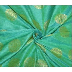 "Brocade fabric Green x metallic Gold Color 44""BRO597[2]"