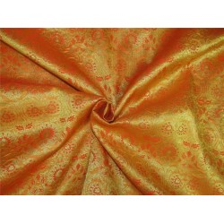 "Brocade fabric mango orange x metallic Gold 48"" BRO600[3]"