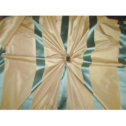 "Silk Taffeta Fabric champagne x blue satin stripes 54""wide TAFS151"