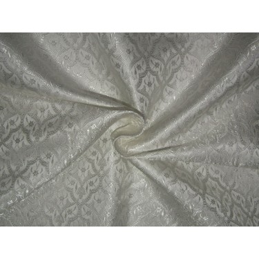 "Silk Brocade fabric white    BRO737[4]   44 "" wide  by the yard"