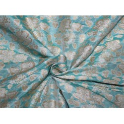 Brocade fabric sea green x metallic gold color 44''wide BRO659[1]