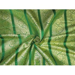 "Brocade border fabric green x metallic gold color 44""wide BRO658[3]"
