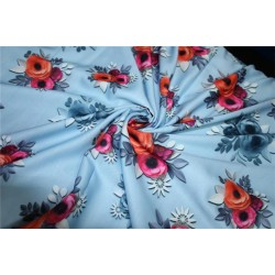 Linen satin digital print fabric blueish grey multi color flowers 44'' wide by the yard