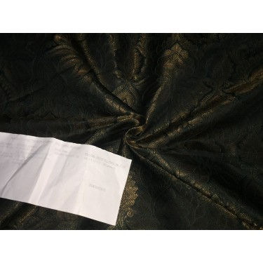 "Silk Brocade fabric black x metallic copper   44""BRO248[5] by the yard]"