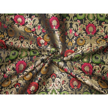 "Silk Brocade 36"" king khab [kings dream] black red pink yellow and green floral  x metalic gold BRO720[4] by the yard"