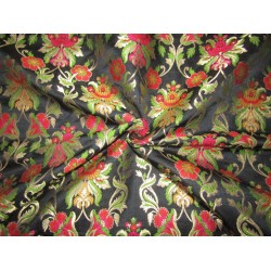 "Silk Brocade 36"" king khab [kings dream] black red pink and green floral  x metalic gold BRO720[3] by the yard"