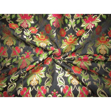 """Silk Brocade 36"""" king khab [kings dream] black red pink and green floral  x metalic gold BRO720[3] by the yard"""