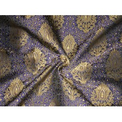 "Brocade FABRIC 44"" navy blue royal blue x metallic gold BRO246[3]"