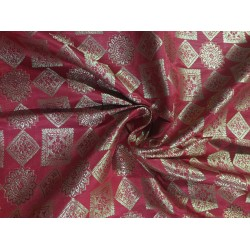 "Silk Brocade fabric bright red and  metallic  gold   BRO702[5]   44 "" wide  by the yard"