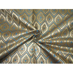"Silk Brocade fabric gold  x metallic gold  and blue   BRO731[2]   44 "" wide  by the yard"