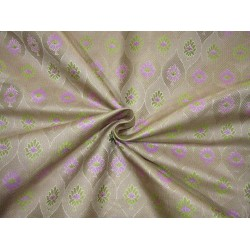 """Silk Brocade fabric  lavender and green   BRO731[4]  44 """"   by the yard"""