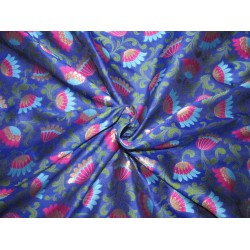 "Silk Brocade fabric  royal blue, pink, blue, green and  metallic  gold  BRO734[2]   44 "" wide  by the yard"