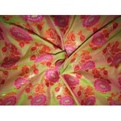 "Silk Brocade fabric golden green x pink  semi sheer   BRO735[4]   44 "" wide  by the yard"
