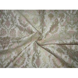 "Silk Brocade fabric ivory baby pink x metalic gold 44""BRO 724[1]by the yard]"