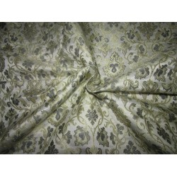 "Silk Brocade fabric   ivory .grey x metallic gold 44"" BRO724[2]  by the yard]"
