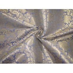 "Silk Brocade fabric blueish grey x metallic gold  44"" BRO726[4]  by the yard"