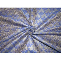 "Silk Brocade fabric  grey x royal blue  44"" BRO725[3]  by the yard]"