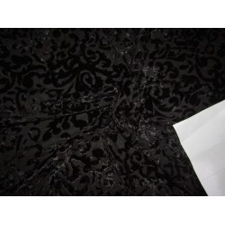 "devore Polyester  burnout black  Velvet fabric -44"" wide by the yard"