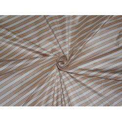 SILK TAFFETA Fabric Peach,Ivory & Black color STRIPES 54""
