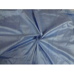 SILK Dupioni FABRIC Cool Blue & Ivory Colour plaids