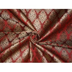 viscose  SILK BROCADE FABRIC BLACK,Indian Red & Metallic GOLD Colour