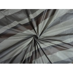 SILK TAFFETA FABRIC Shades of Green x Grey Stripes
