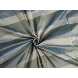 Silk Taffeta Fabric Iridescent Shades of Green & Gold Color stripes 54""