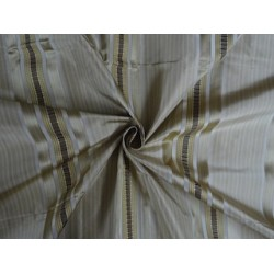 Silk Taffeta Fabric Shades of Light Gold,Brown & Green colour w/ Satin Stripes