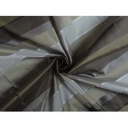 Silk Taffeta Fabric Shades of Brown,Gold & Grey colour with Satin Stripes