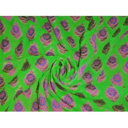 Silk Georgette Fabric with jacquard Green,Blue & Pink color 44""
