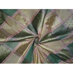 SILK TAFFETA Plaids FABRIC Pink,Green & Light Gold jacquard 54""