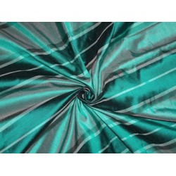PURE SILK Dupioni FABRIC Shades of Teal color Stripes