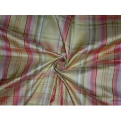 SILK Dupioni FABRIC Pink,Green & Cream color plaids 3.92 yards continuous piece