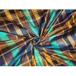 SILK Dupioni FABRIC Multi color plaidsDUPC66[2]