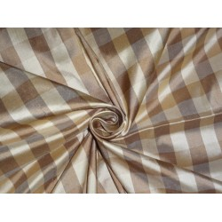 SILK Dupioni FABRIC Gold & Brown color plaids 2.50 yards continuous piece
