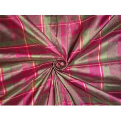 SILK Taffeta FABRIC Green & Pink color plaids 3.70 yards continuous piece