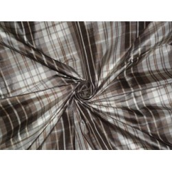 SILK Taffeta FABRIC Shades of Brown & Ivory plaids 3.00 yards continuous piece