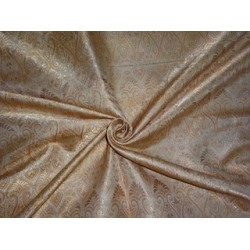 viscose  Silk Brocade fabric Cream & Light Golden Brown Color 44""