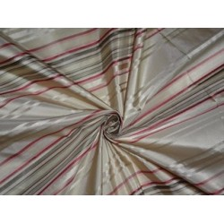 Silk Taffeta Fabric Multi colour with satin stripes 54""