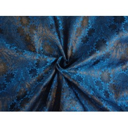 Spun Silk Brocade fabric Blue & Black Color