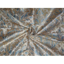 PURE SILK BROCADE FABRIC SEA BLUE IVORY AND METALLIC GOLD