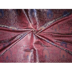 viscose silk BROCADE~WIDTH 44 ~Dark Wine, BLUE & Metallic Gold COLOUR