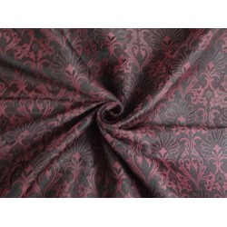 viscose SILK BROCADE FABRIC Black & Wine color